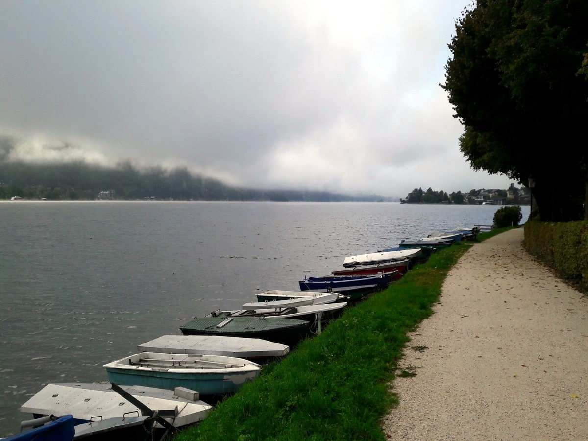 Boats at the lake on the Zeller Lake Loop Hike in Zell am See - Kaprun, Austria