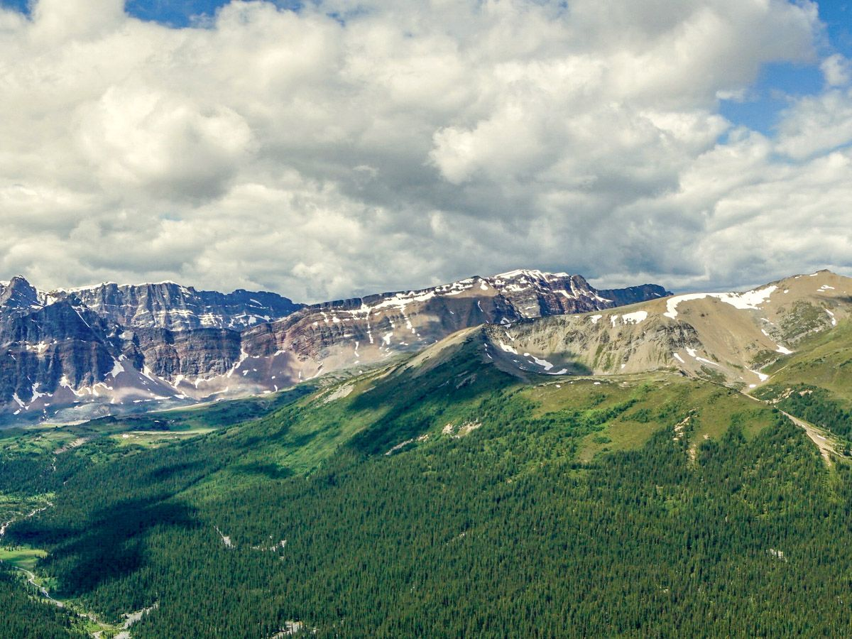 Mountains in the distance on the Bald Hills Hike in Jasper National Park, Alberta