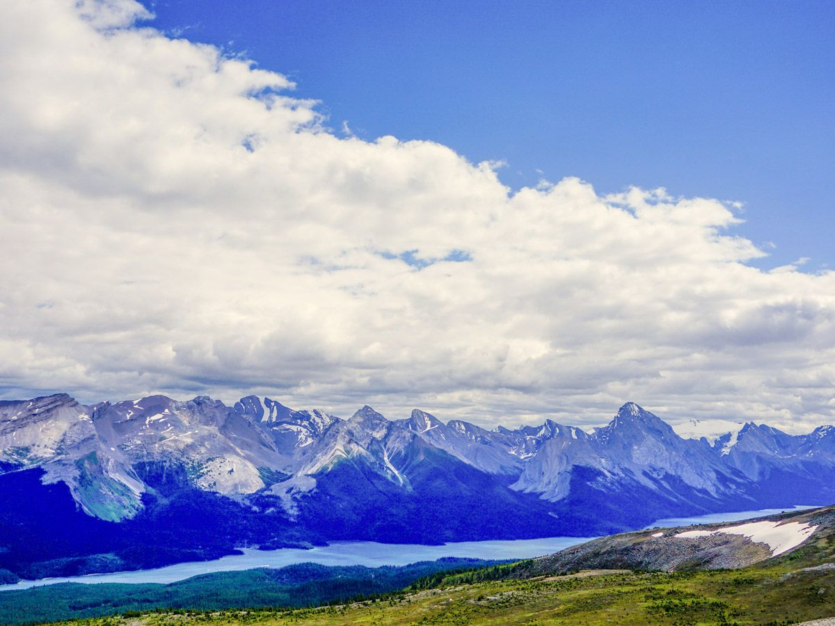Mountain and clouds on the Bald Hills Hike in Jasper National Park, Alberta