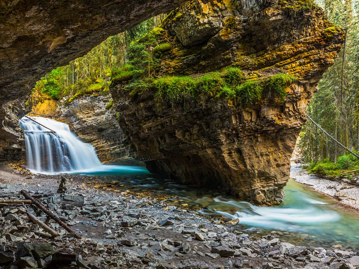 The hidden cave at Johnston Canyon
