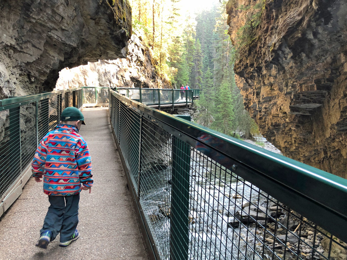 Kids friendly trail on the Johnston Canyon Hike near Banff, the Canadian Rockies