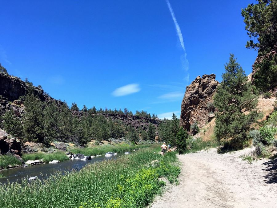 Trail along the river on the Smith Rock's Misery Ridge Loop Hike near Bend, Oregon