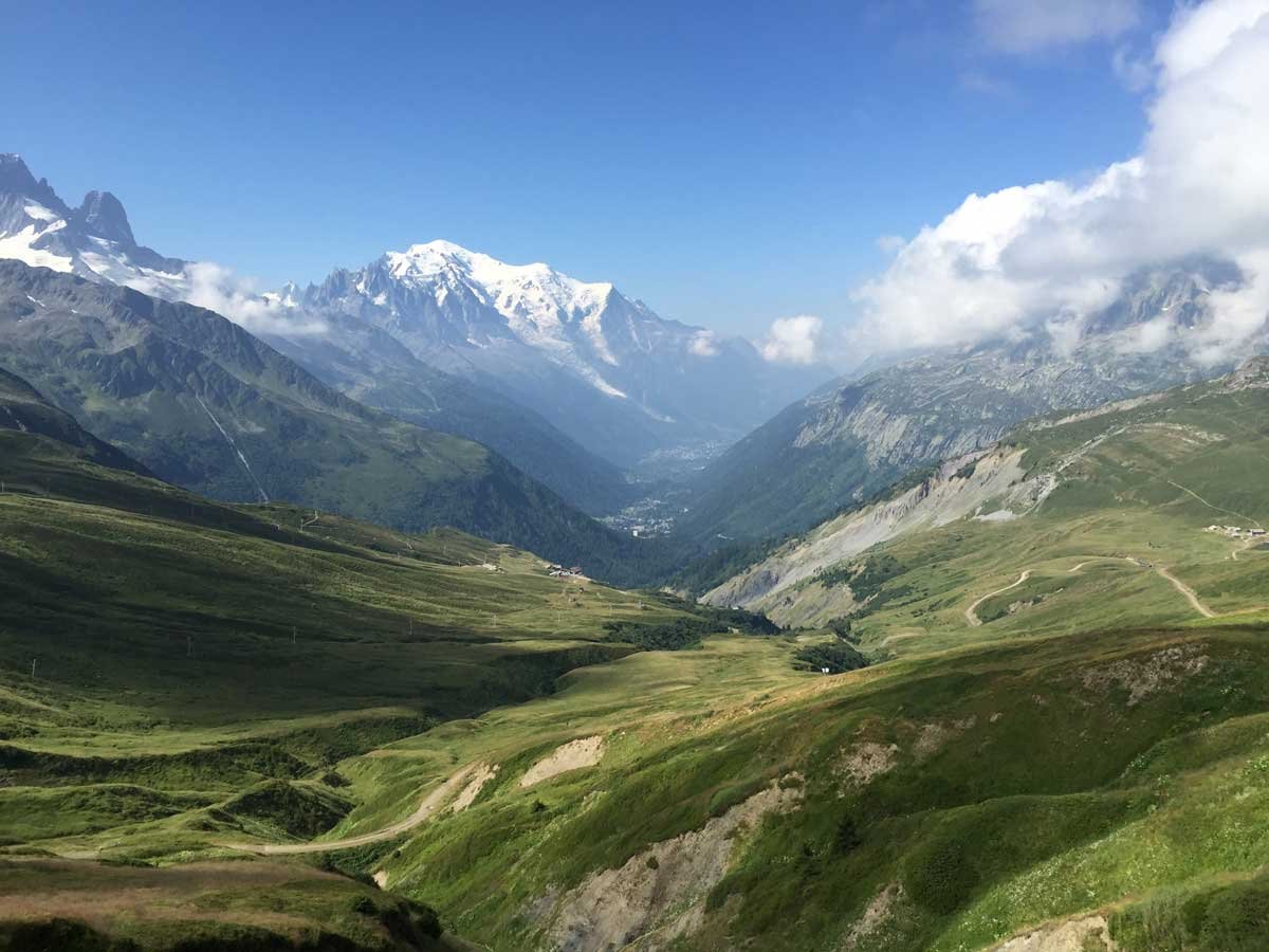 View from the Col de Balme trail in Chamonix