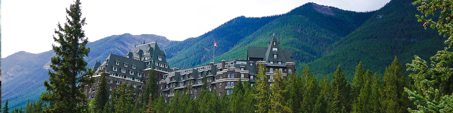 Panorama from the Banff Bow River to Bow Falls to Banff Springs hike in Banff, Alberta