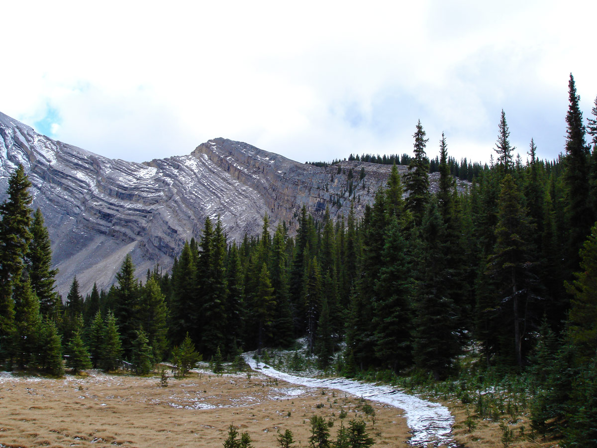 View from the trail of the Cascade Amphitheatre Hike near Banff, Alberta
