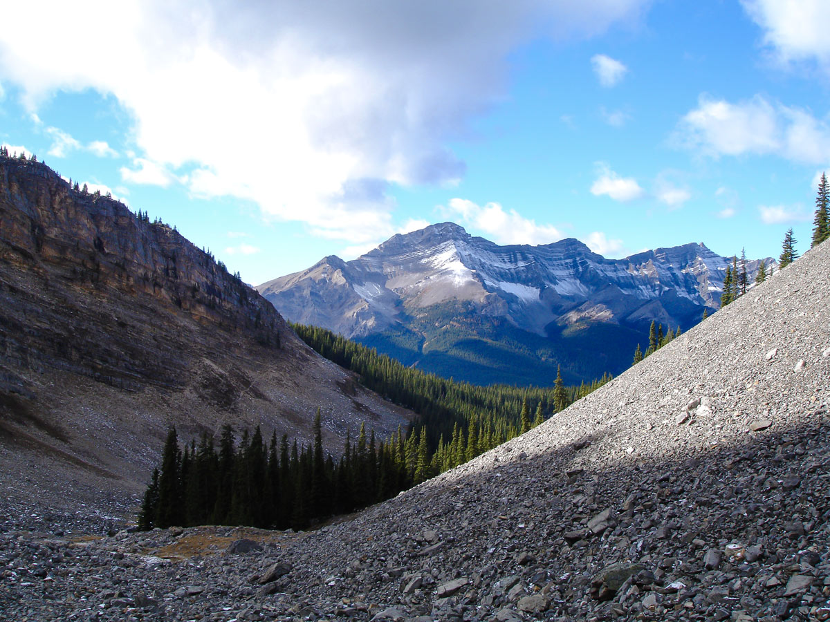 Views from the scree of the Cascade Amphitheatre Hike near Banff, Alberta