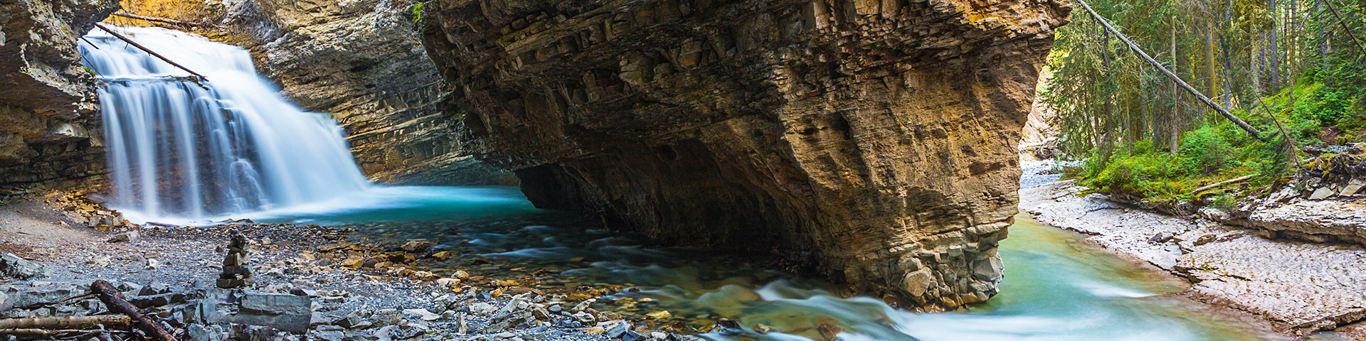 Panorama of the Johnston Canyon hike in Banff National Park, Alberta