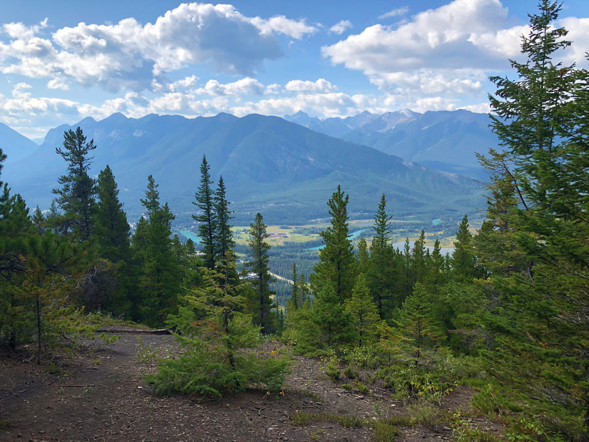 View down to Vermilion Lakes from the Stoney Squaw Hike near Banff, Alberta