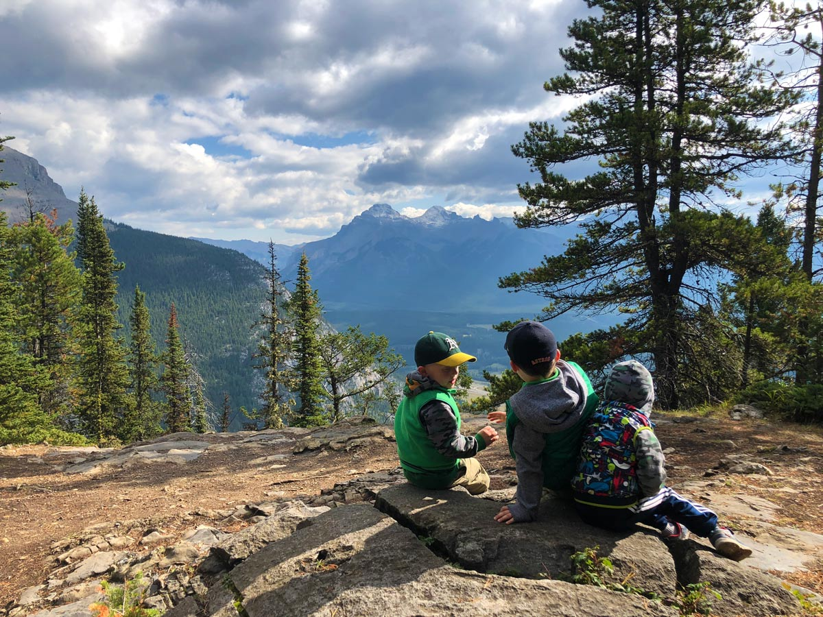 Kids-friendly trail on the Stoney Squaw Hike near Banff, Alberta