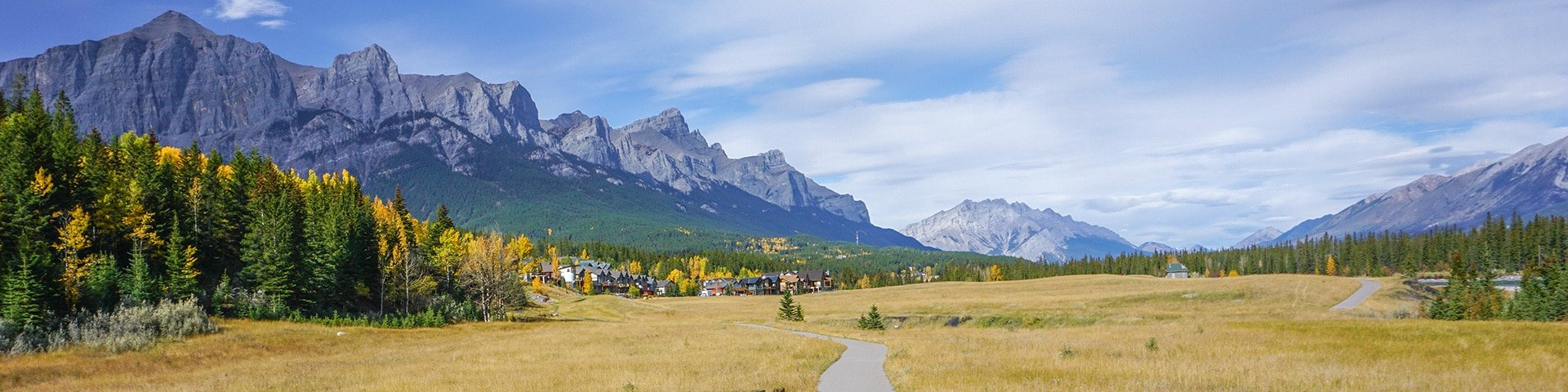 Panorama of the Bow River trail hike in Canmore, the Canadian Rockies