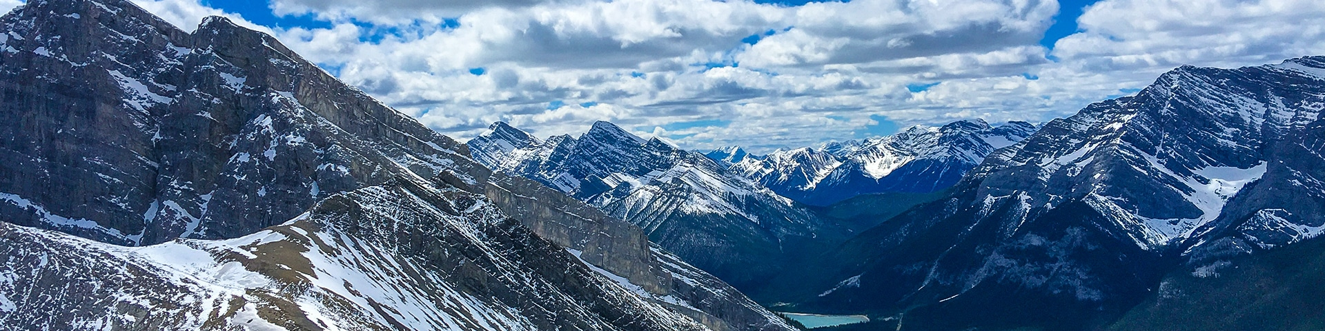 Panorama from the Ha Ling Peak hike in Canmore, the Canadian Rockies