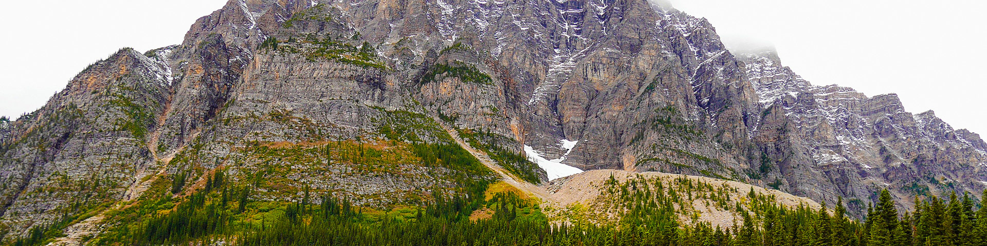 Panorama from the Cirque & Chephren Lakes hike along Icefields Parkway, the Canadian Rockies