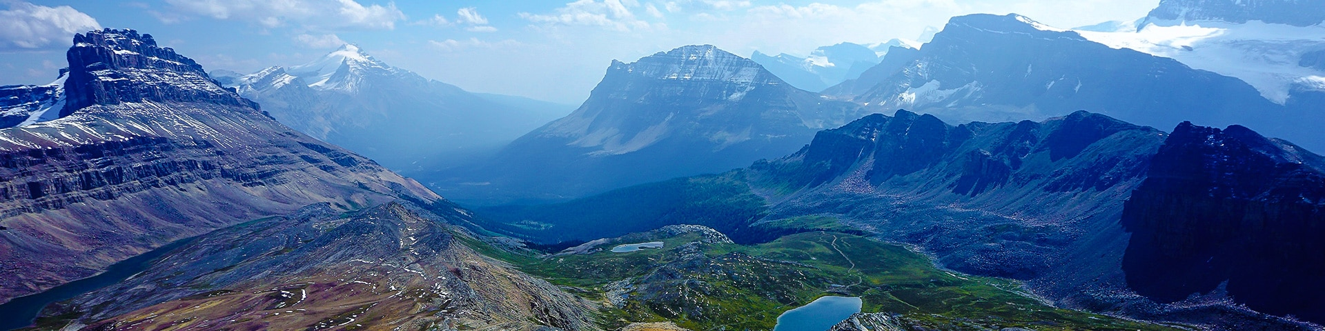 Panorama of the Helen Lake hike along Icefields Parkway, the Canadian Rockies