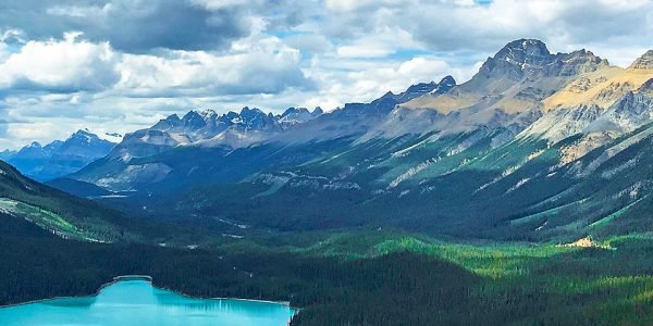 Panorama of the Peyto Lake Viewpoint hike from Icefields Parkway, the Canadian Rockies