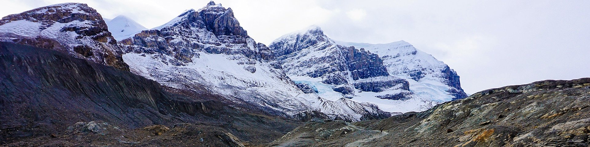 Panorama from the Toe of the Athabasca Glacier hike on Icefields Parkway, the Canadian Rockies