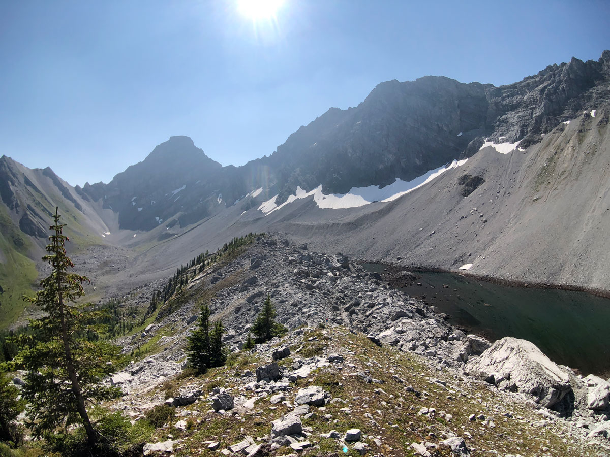 Views of the ridge on the Black Prince Lakes and Cirque Hike near Smith-Dorrien Trail in Kananaskis, near Canmore