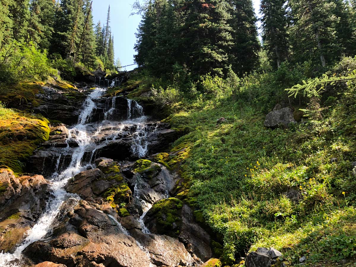 Waterfall on the Black Prince Lakes and Cirque Hike near Smith-Dorrien Trail in Kananaskis, near Canmore