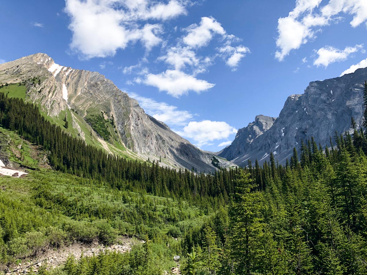 View of the Headwall Lakes Hike near Smith-Dorrien Trail in Kananaskis, near Canmore