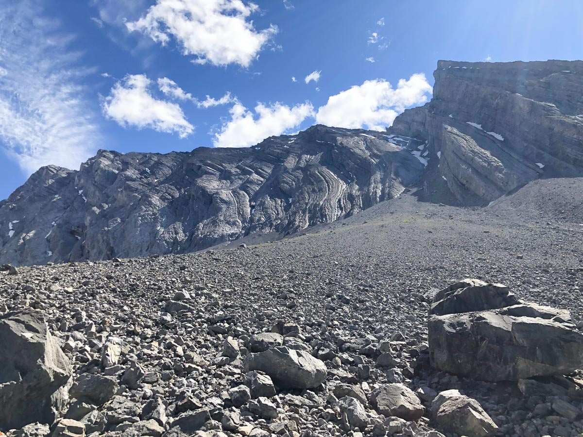 Crossing the boulder field on the Headwall Lakes Hike near Smith-Dorrien Trail in Kananaskis, near Canmore