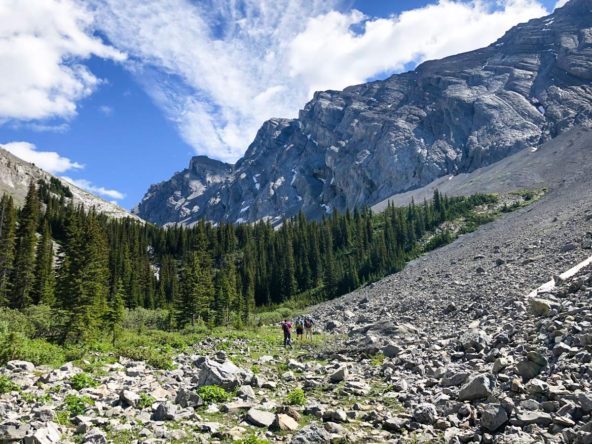 Trail up to the valley on the Headwall Lakes Hike near Smith-Dorrien Trail in Kananaskis, near Canmore