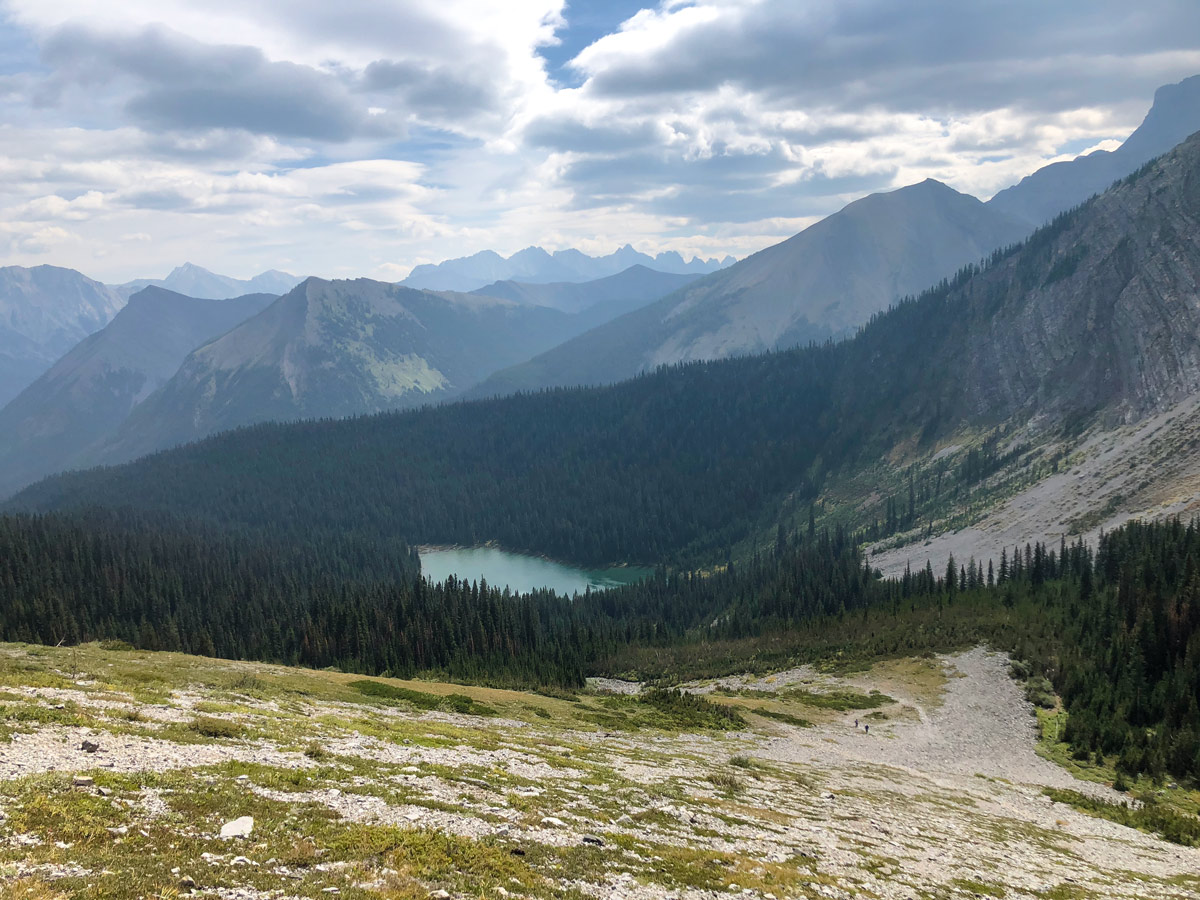 View down on the Lillian and Galatea Lakes Hike in Kananaskis, near Canmore