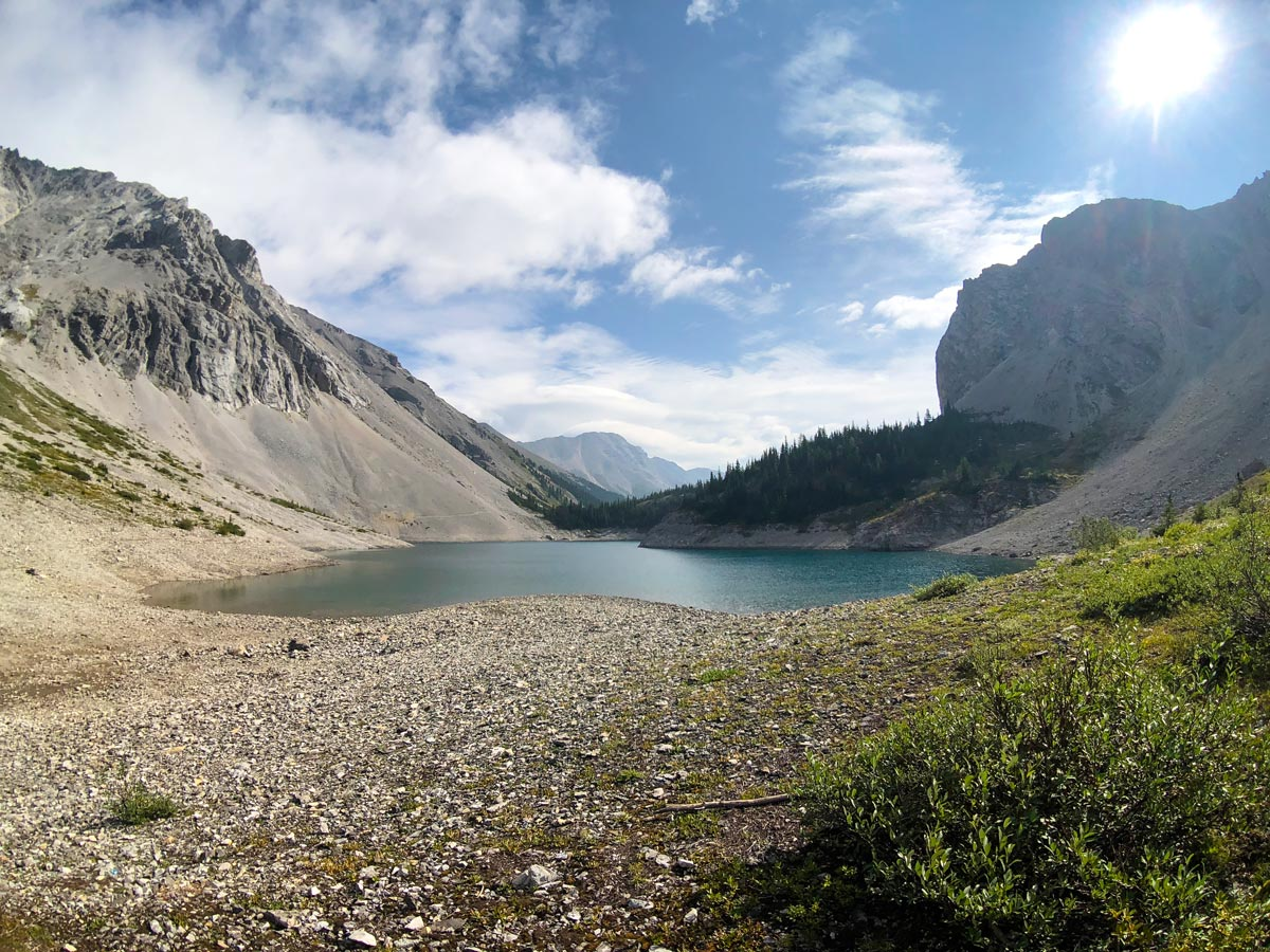 Looking back from the far end of Lower Galatea Lake on the Guinn's Pass Hike in Kananaskis, near Canmore