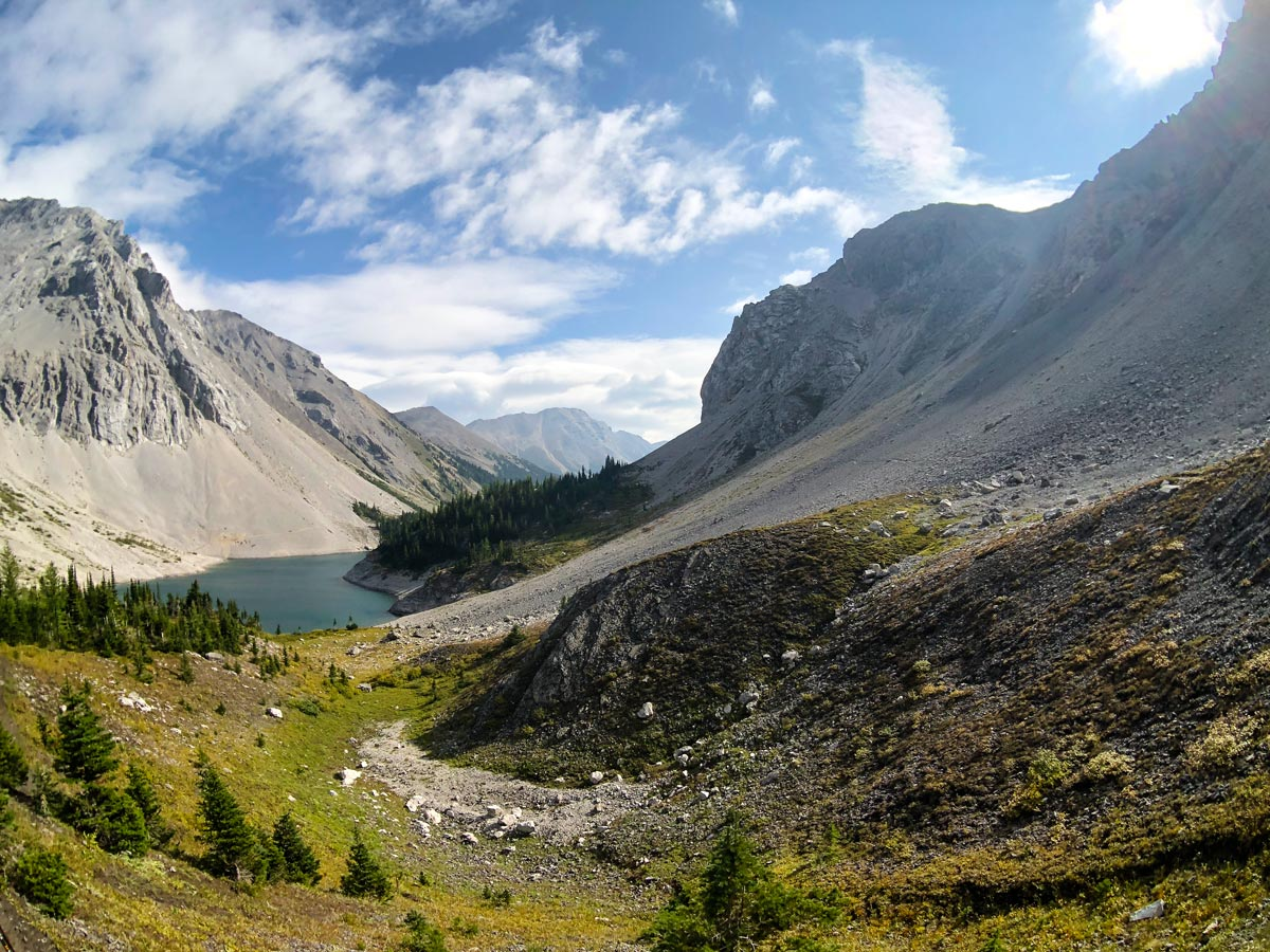 Looking down on Lower Galatea Lake from the Guinn's Pass Hike in Kananaskis, near Canmore