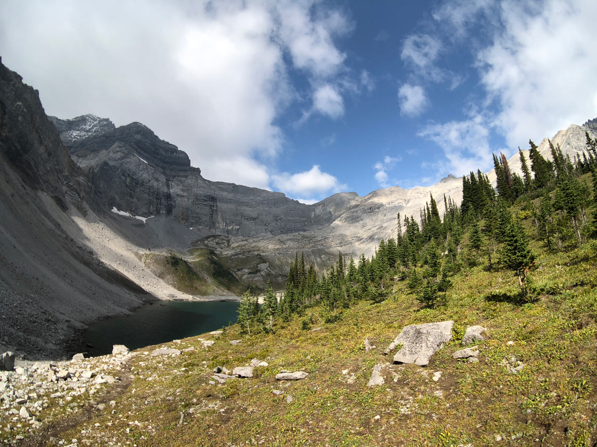 View of Upper Galatea Lake on the Guinn's Pass Hike in Kananaskis, near Canmore