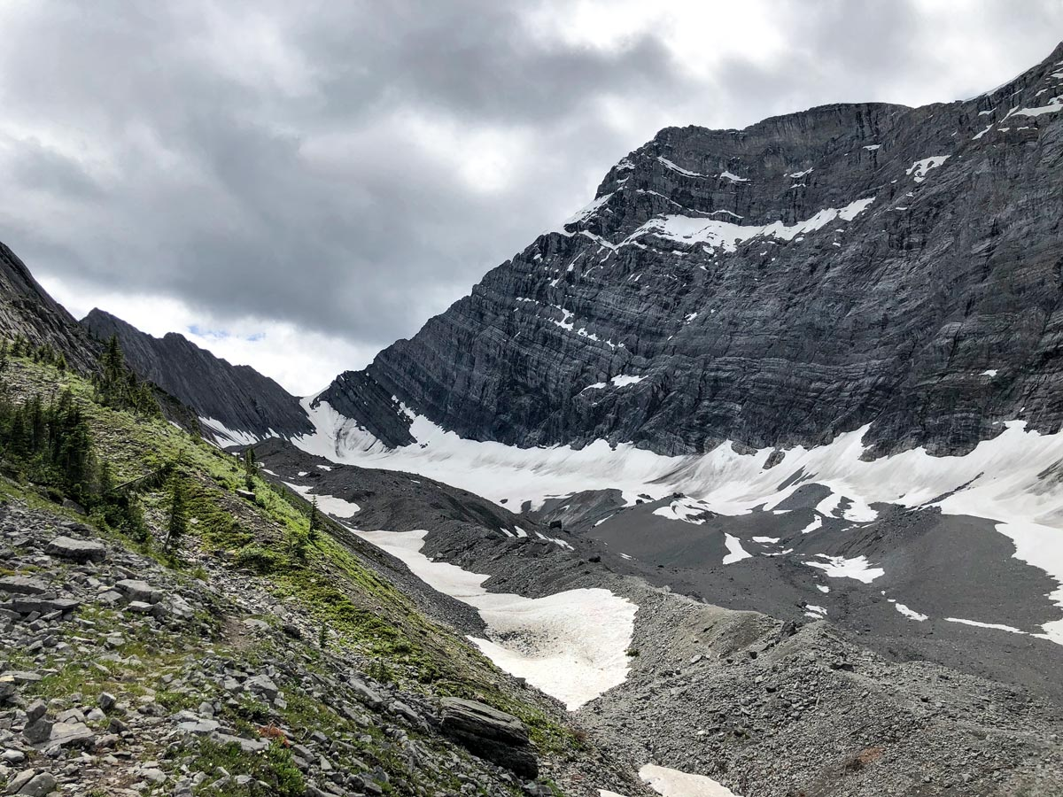 The moraine and the glacier on the Old Goat Glacier Hike near Smith-Dorrien Trail in Kananaskis, near Canmore