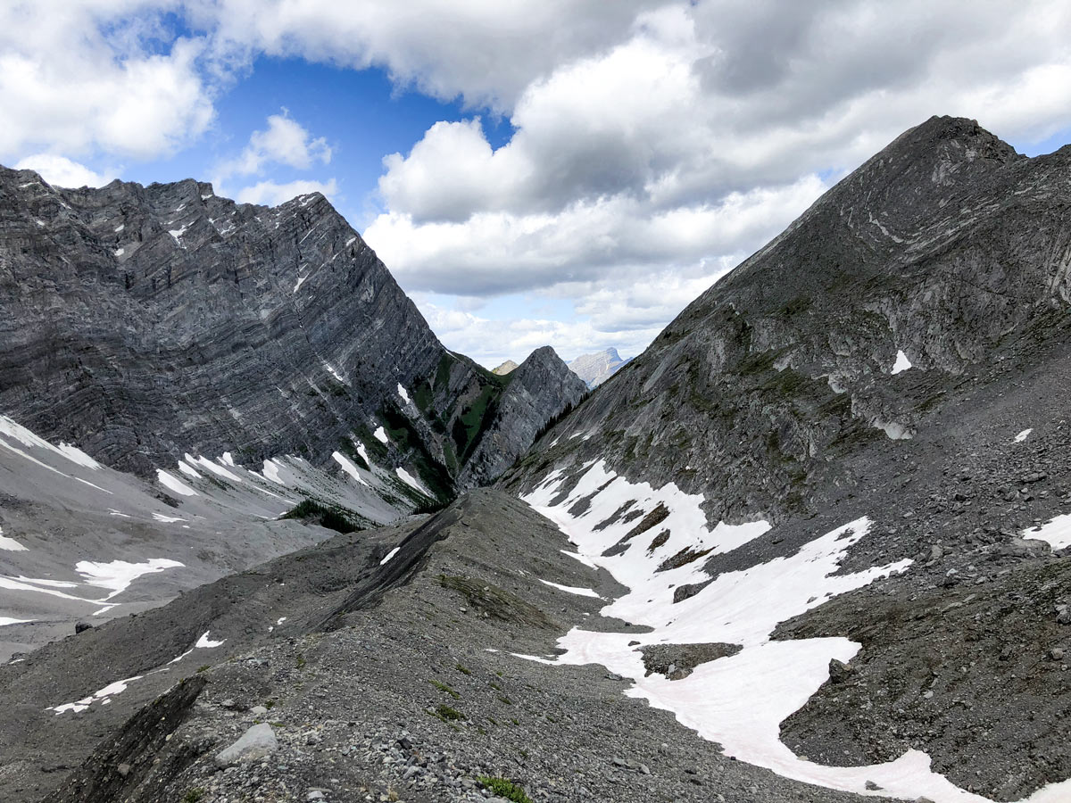 View down on the Old Goat Glacier Hike near Smith-Dorrien Trail in Kananaskis, near Canmore