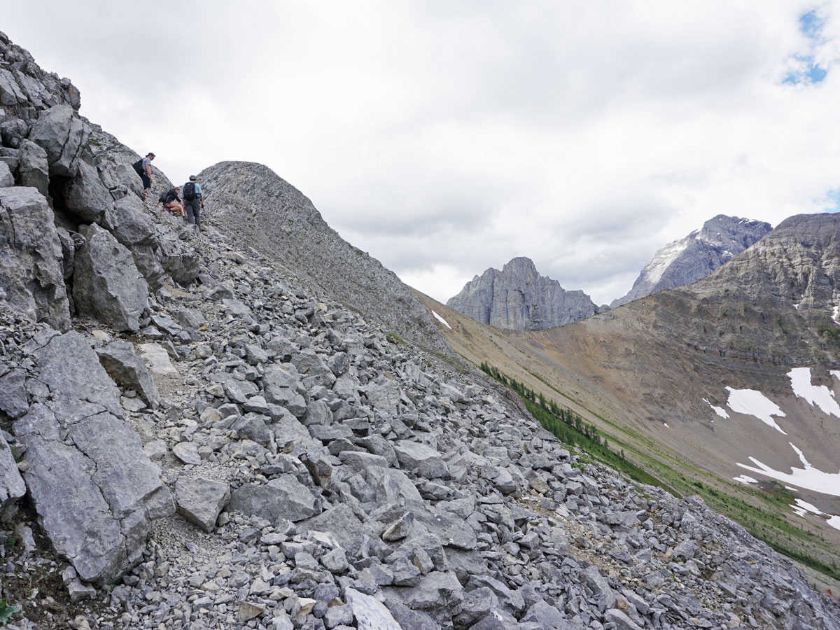Scree path on the route of the Tent Ridge Horseshoe Hike near Smith-Dorrien Trail in Kananaskis, near Canmore