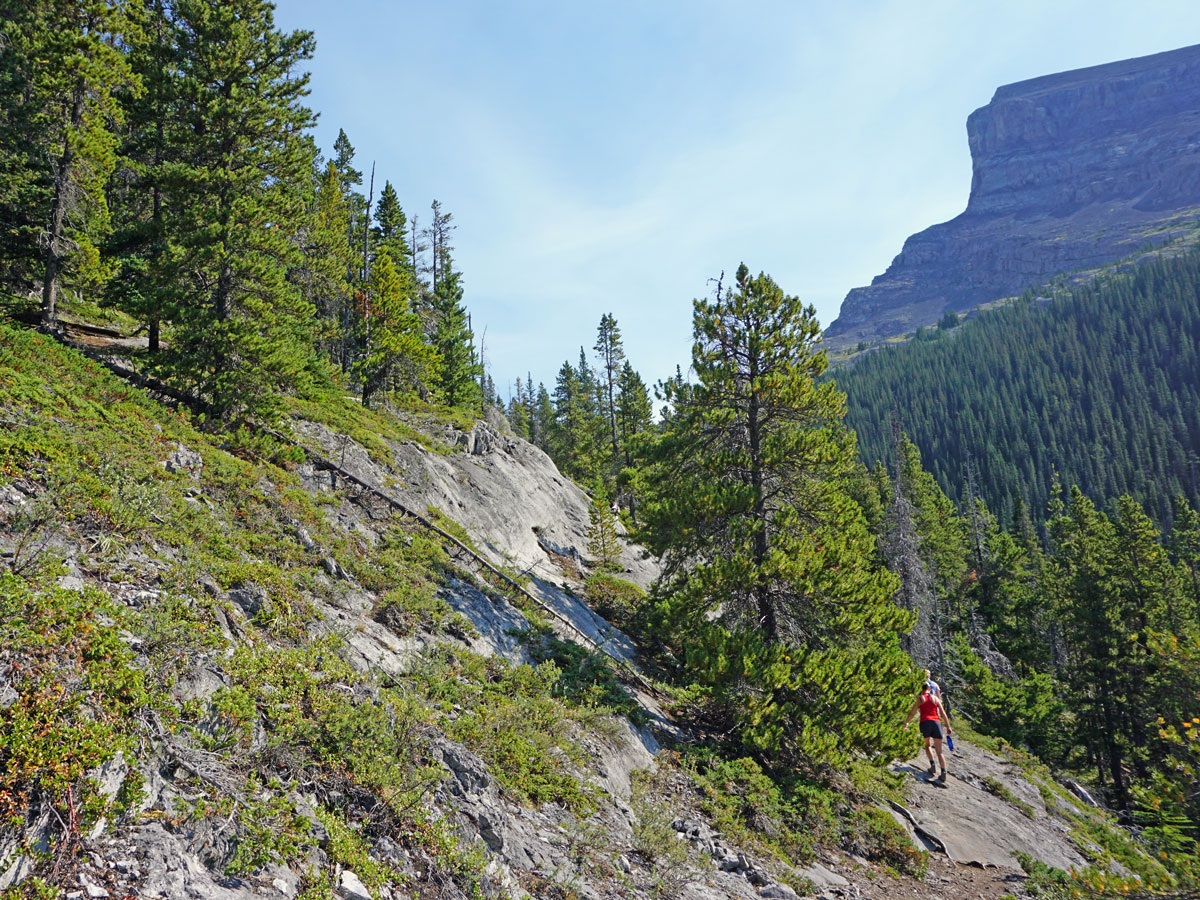 Tricky part of the West Wind Pass Hike near Smith-Dorrien Trail in Kananaskis, near Canmore