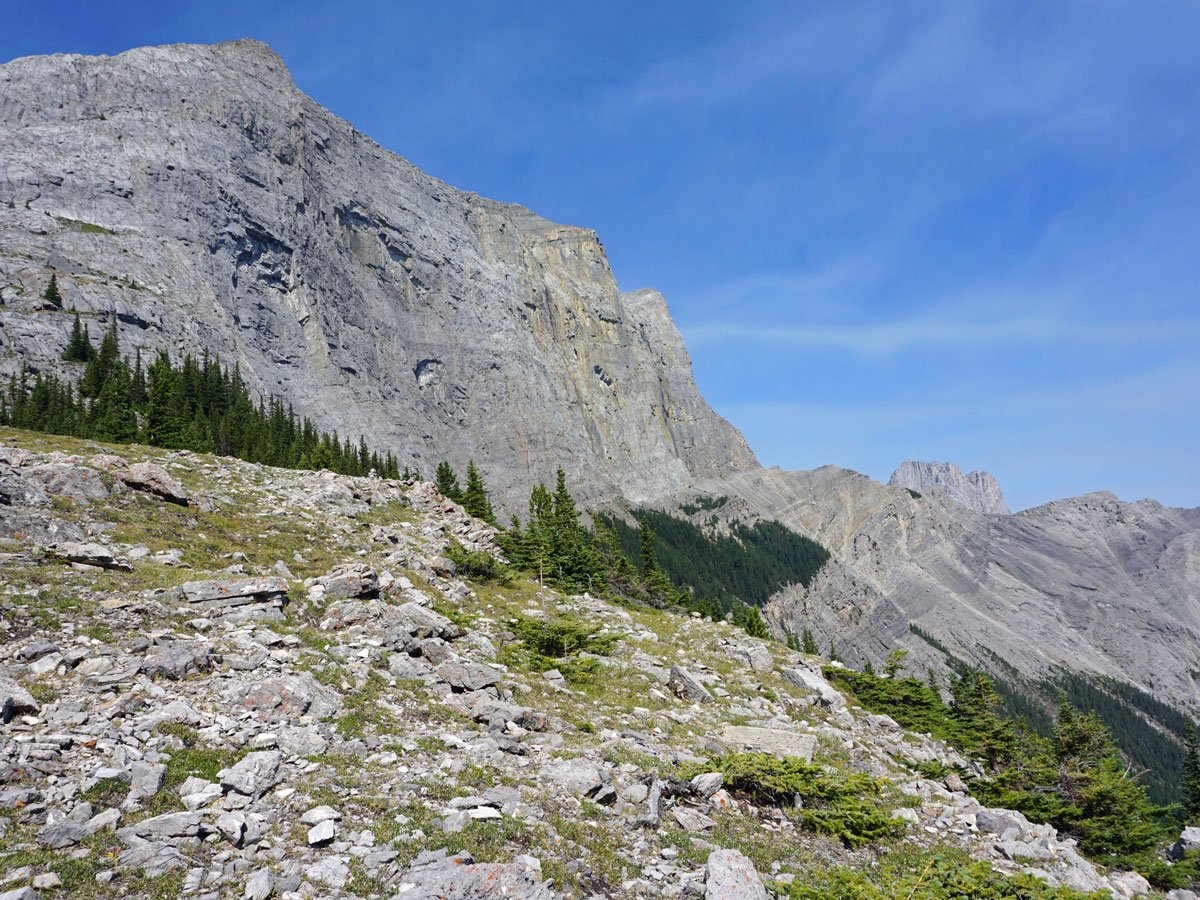 Trail views of the West Wind Pass Hike near Smith-Dorrien Trail in Kananaskis, near Canmore