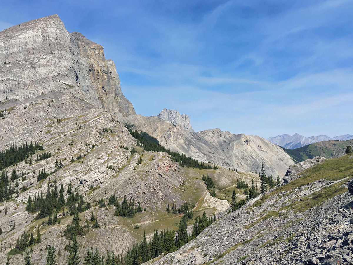 Views to the pass on the Windtower Hike near Smith-Dorrien Trail in Kananaskis, near Canmore