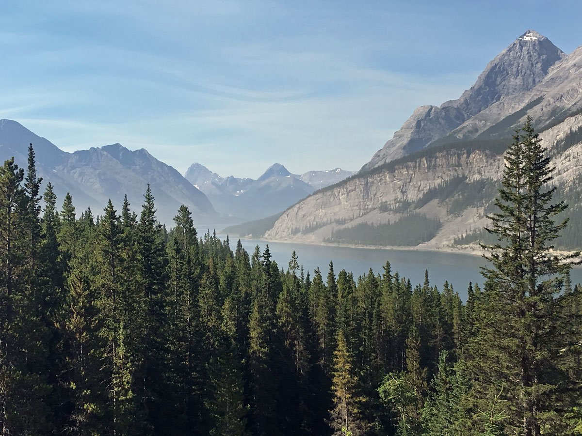 Smoke on the Spray Lakes Reservoir on the Windtower Hike near Smith-Dorrien Trail in Kananaskis, near Canmore