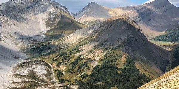 Trail of the Guinn's Pass hike from Kananaskis near Canmore