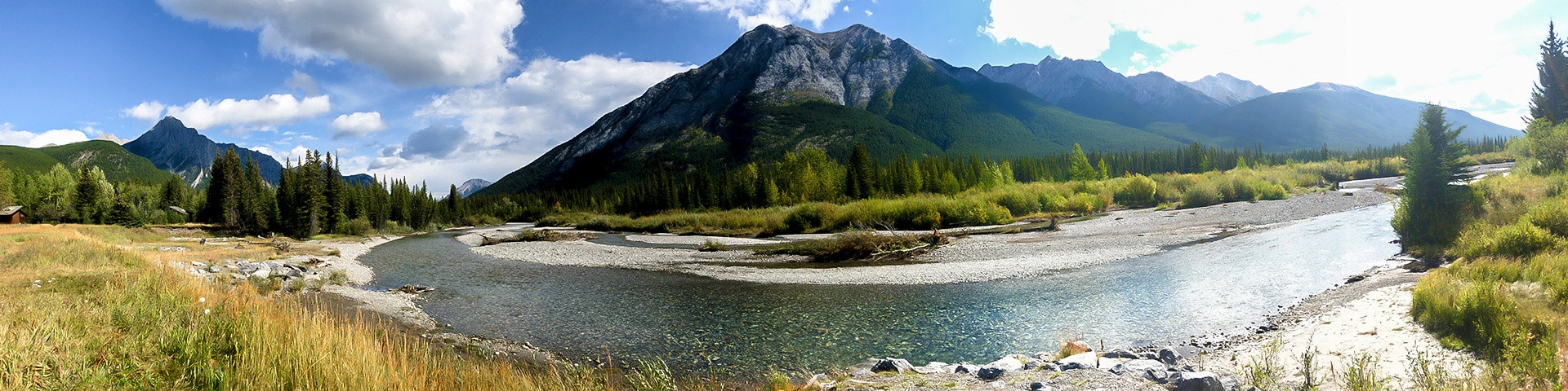 Panorama from the Troll Falls hike in Kananaskis, the Canadian Rockies