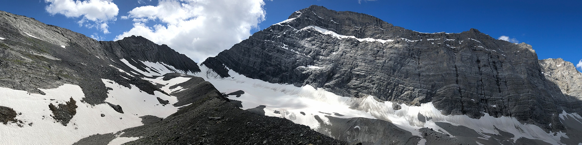 Panorama from the Old Goat Glacier hike from Smith-Dorrien Trail in Kananaskis near Canmore