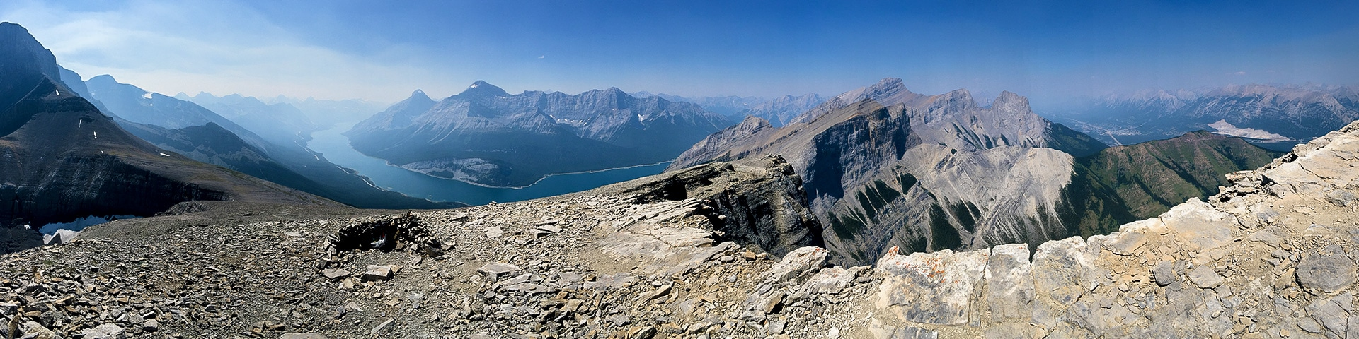 Panorama of the Windtower hike from Smith-Dorrien Trail in Kananaskis near Canmore