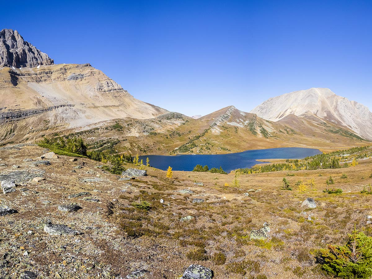 Ptarmigan Lake view from the Redoubt Lake via Boulder Pass Hike from Lake Louise in Banff National Park