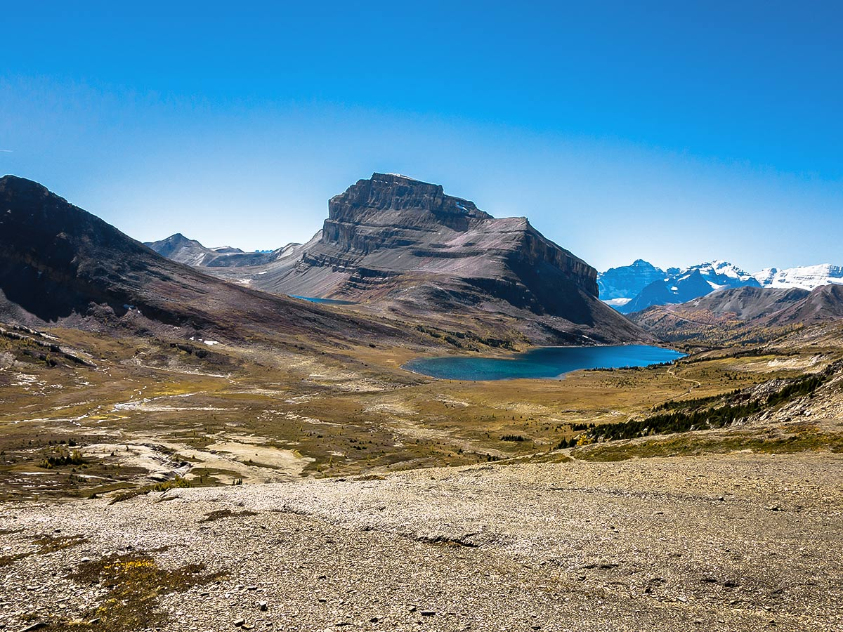 View southwest from the Deception Pass on the Skoki Lakes Hike from Lake Louise in Banff National Park