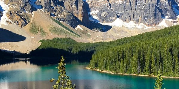 Panorama of the Moraine Lake Rockpile and Lakeshore hike near Lake Louise, Banff National Park