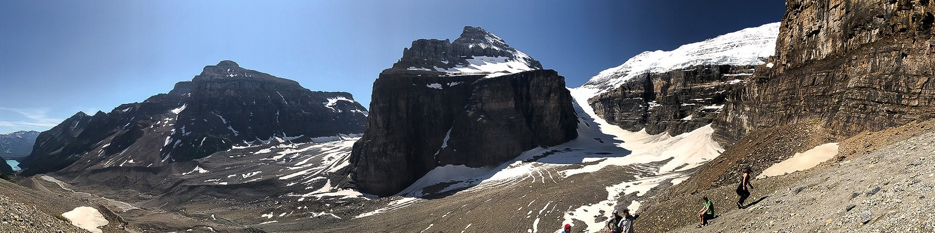 Panorama of the Plain of the Six Glaciers hike in Lake Louise, Banff National Park, Alberta