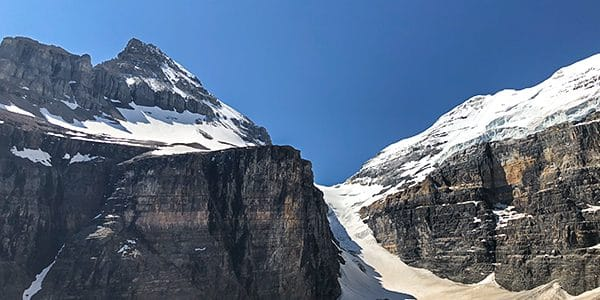 Scenery from the Plain of the Six Glaciers hike in Lake Louise, Banff National Park, Alberta