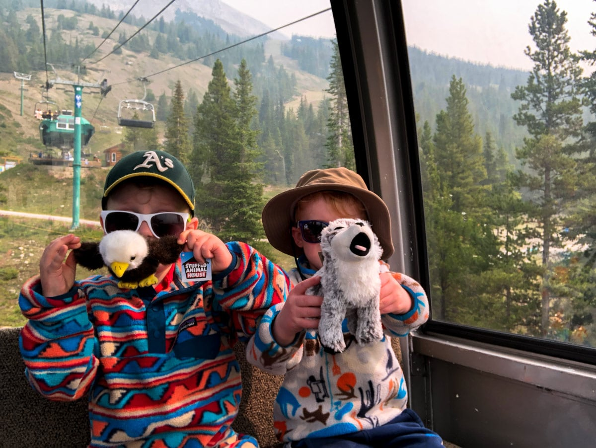 Fun with teddies on the gondola on the Lake Louise Ski Hill Hike from Lake Louise in Banff National Park