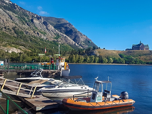 Small marina on Crandell Lake hike in Waterton Lakes National Park, Canada