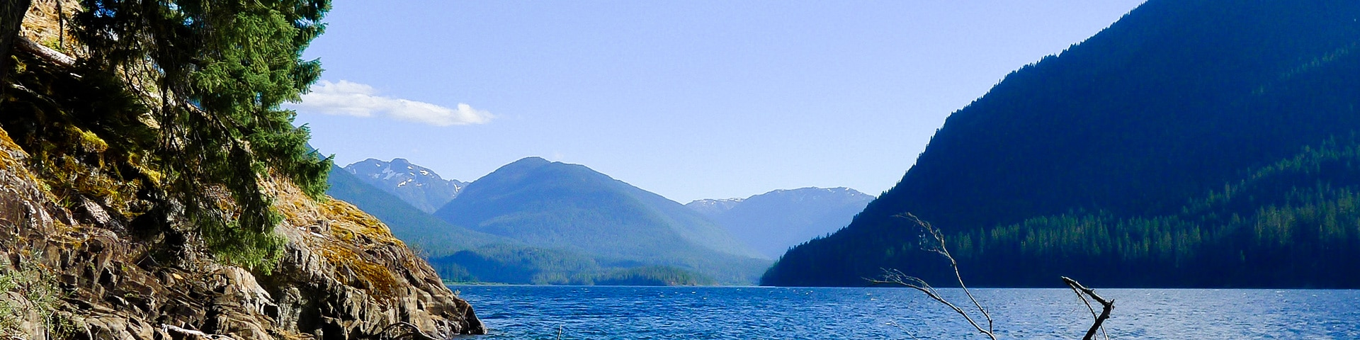 Panorama of the Augerpoint Beach hike in Strathcona, Vancouver Island