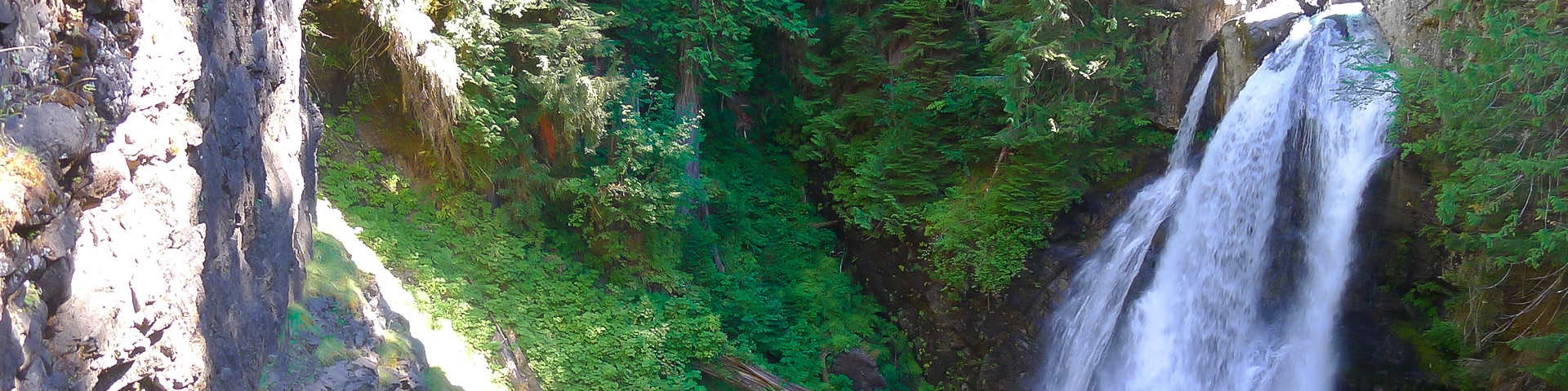 Panorama of the Lady Falls hike in Strathcona Provincial Park, Vancouver Island