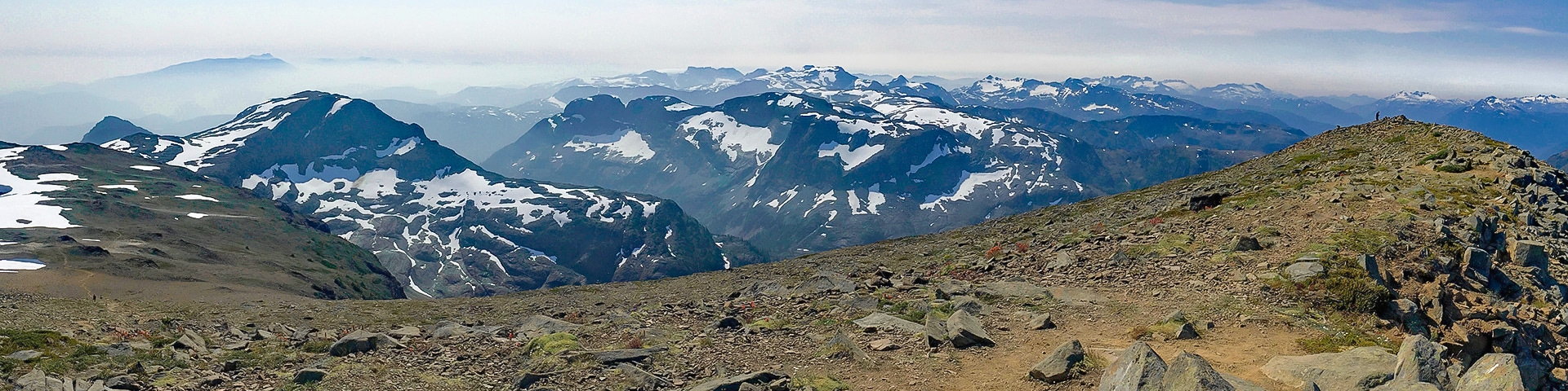 Panorama of the Mt Albert Edward hike in Strathcona Provincial Park, Vancouver Island