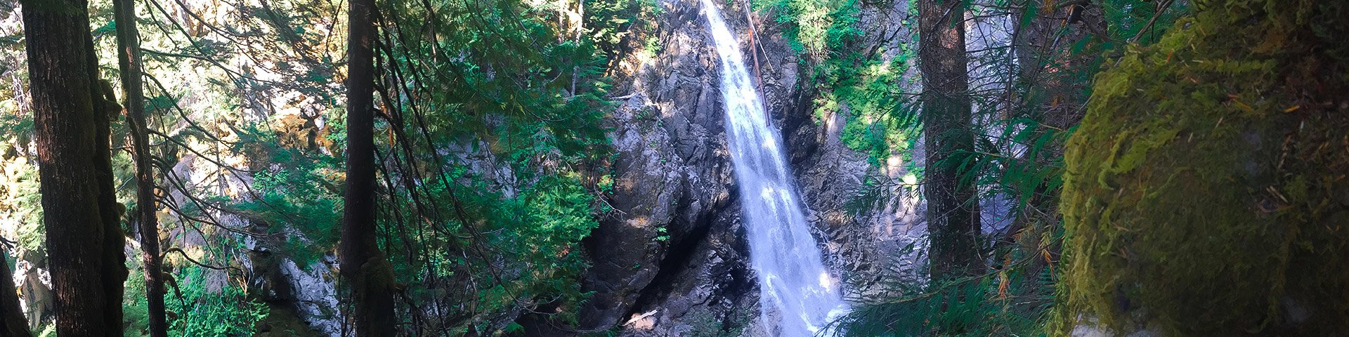 Panorama of the Upper Myra Falls hike in Strathcona Provincial Park, Vancouver Island